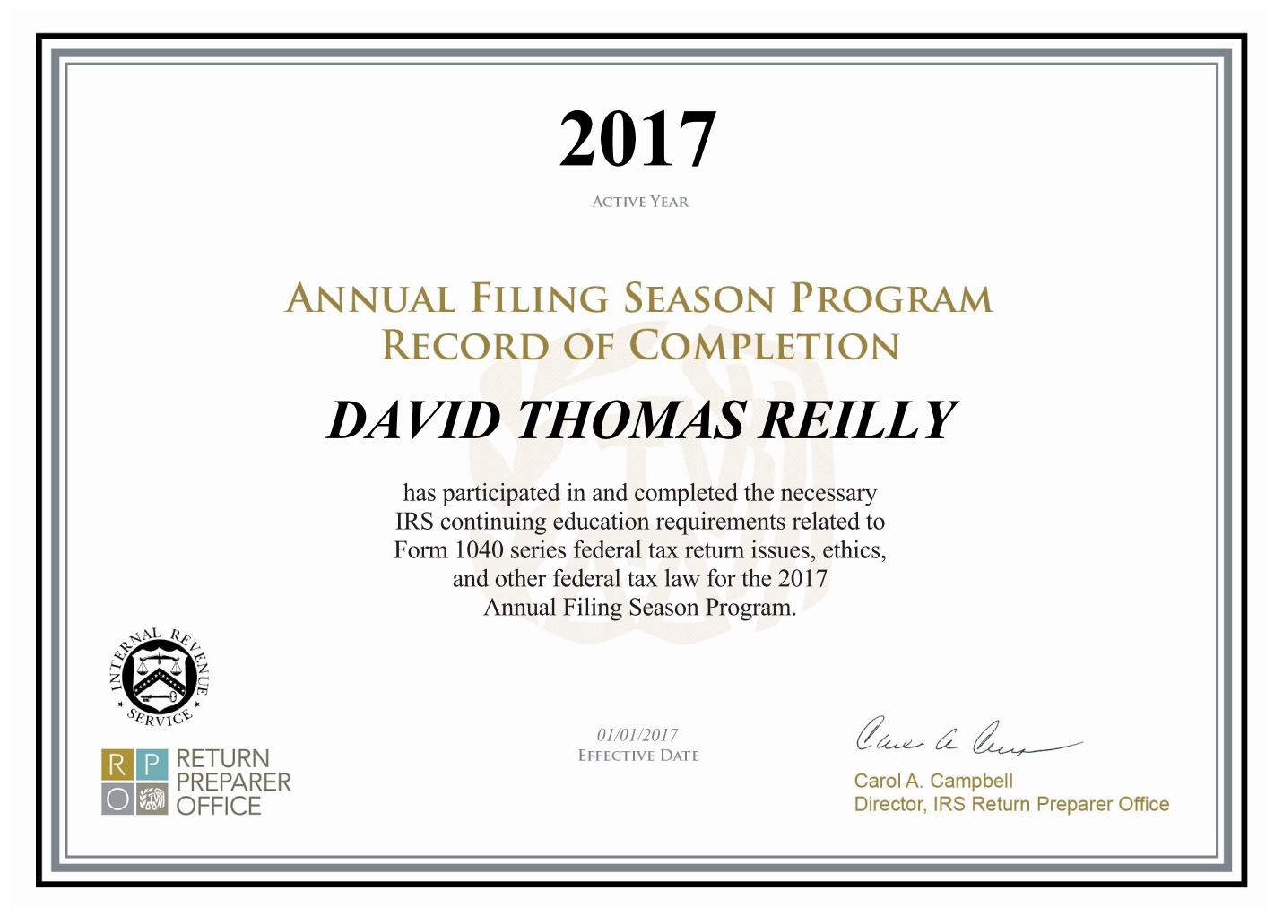 2017 AFSP Certificate